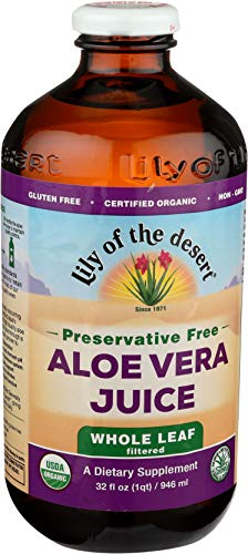 Lily Of The Desert Organic Aloe Vera Juice, Whole Leaf, No Preservatives, 32 Ounces