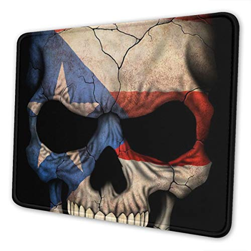 Gaming Mouse Pad Puerto Rican Flag Skull Puerto Rico Flags Mouse Pad/Mousepad Non-Slip Rubber Base Mouse Mat for Computers Laptop Office Accessories Desk Decor 10 X 12 Inch