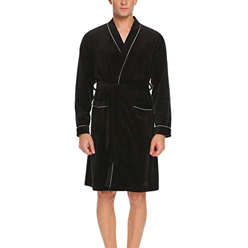 Imposes Mens Soft Kimono Bathrobe Cotton Long Sleeve Lightweight Robe Sleepwear With Belt (Black, - Men Close