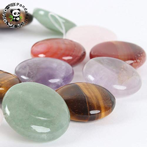 Calvas Mixed Stone Beads Strands, Flat Round, 20x5~8mm, Hole: 1mm; About 20pcs/Strand, 15.75
