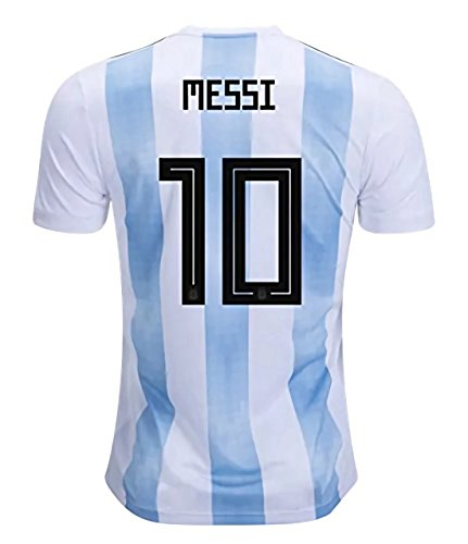 CampJuly 2018 World Cup Soccer Team Argentina Messi 10 Home Men's Jersey Color White Size L ()