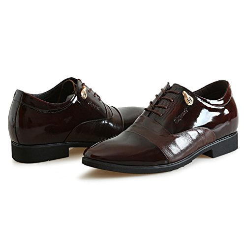 Men Genuine Oxfords Formal Leather Shoes 2 Brown Business inches Wedding for Elevator 56 Taller Invisible pARtwRqz