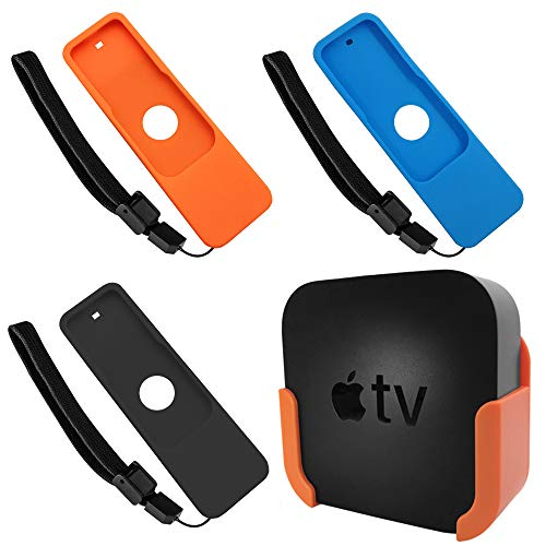 Price comparison product image Orange TV Mount Compatible with Apple TV 4th Gen and 4K 5th Generation,  DaKuan Wall Mount Holder,  3 Protective Cases Compatible with Apple TV 4K / 4th Gen Siri Remo