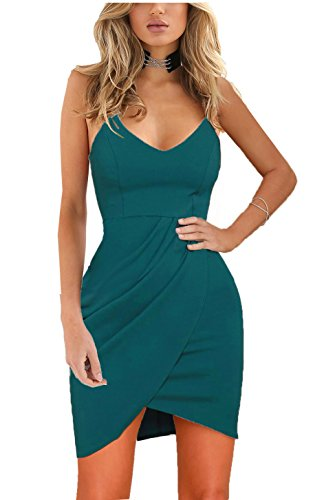 - Zalalus Women's Bodycon Cocktail Party Dresses Deep V Neck Backless Spaghetti Straps Sexy Summer Short Casual Club Sundress Above Knee Length Sleeveless Blue X-Large