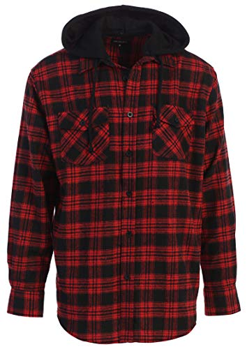 Gioberti Men's Removable Hoodie Plaid Checkered Flannel Shirt, Black/Red Plaid, X-Large
