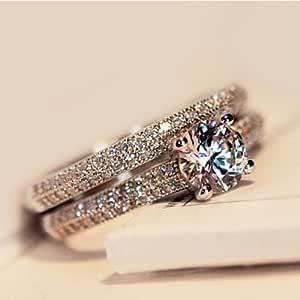 promsup 925plata, oro rosa corte redondo CZ boda banda el compromiso anillos set mujer
