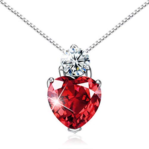 (Jacob Alva Love Heart Necklace Mothers Pendant Created Ruby Red July Birthstone Jewelry Sterling Silver Crystal Necklace Ideas Girlfriend Wife Teenage)