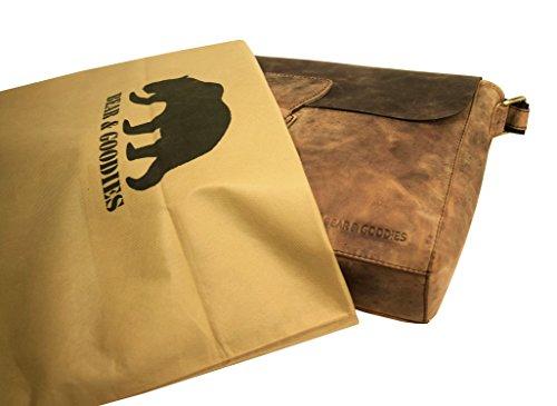 BEAR & GOODIES Laredo, aus echtem Büffel-Leder im Vintage Look, Umhängetasche Bürotasche Unitasche