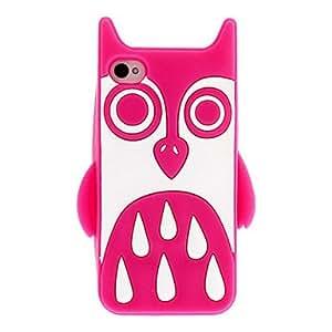 GONGXI-Pattern White Owl Case Soft Gel de sílice con alta definición Protecter de pantalla para iPhone 4/4S , Rojo