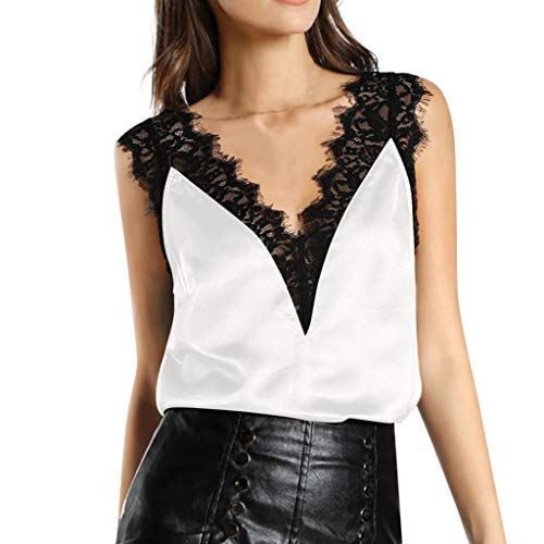 Masun Fashion Women's V-Neck Sexy Lace Vest Hollow Short Shoulder Silky Sling Solid Color Casual Shirt Top ()