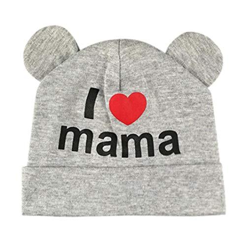 (Newborn Infant Unisex Baby Sleep Cap Cartoon Love Letter Print Headwear Hospital Nursery Swaddling Hat (Gray))