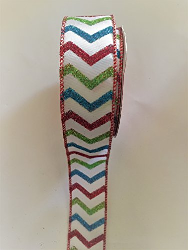 15-x-30-ft-white-with-red-blue-and-green-chevron-stripes-wired-edge-ribbon