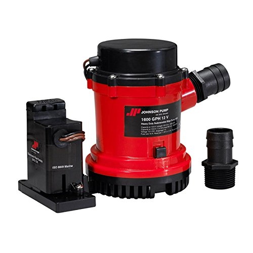 Johnson Pumps 01604-00 1600 GPH Heavy Duty Automatic Bilge Pump with Electromagnetic Switch, (1600 Boat)