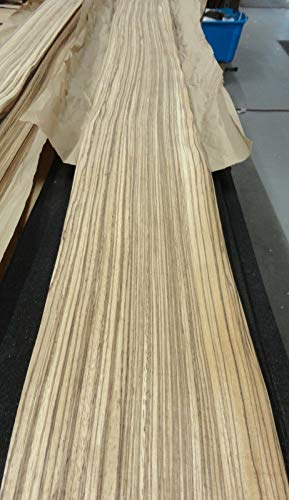 "Zebrawood wood veneer 4.75"" x 91"" raw no backing 1/42"" for sale  Delivered anywhere in USA"