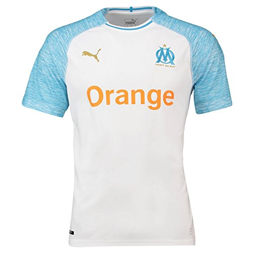 PUMA Marseille 2018/19 Short Sleeve Home Jersey - Adult White/Bleu Azur - Medium