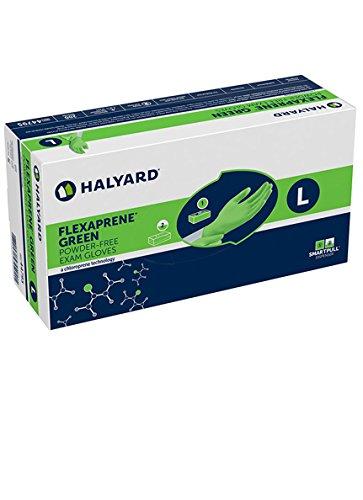 Halyard 44794 FLEXAPRENE Green Exam Glove, 9.5'' Length, Medium, Chloroprene, Beaded Cuff (Pack of 2000)