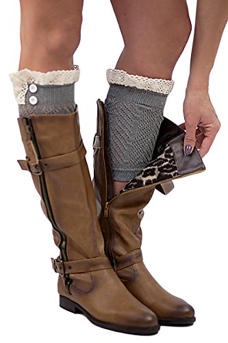 The Original 2 Button Lace Boot Cuffs Charcoal Boutique