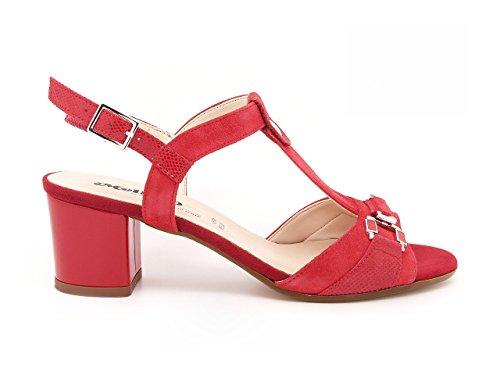 MELLUSO - Sandalias de vestir de ante para mujer rojo rojo