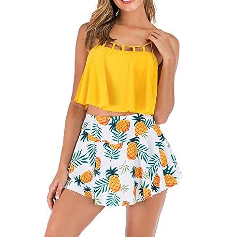 - 41V8tqxHchL - Eternatastic Womens Two Piece Bikini Set with Swim Skirt Bathing Suit Yellow