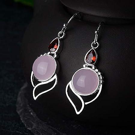 XEHL Pendientes Colgantes de Plata 925 con Piedras Preciosas Redondas de Cuarzo Rosa Rubí Joyas étnicas Regalo de Fiesta de Mujer