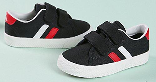 VECJUNIA Jungen Mädchen Atmungsaktiv Flach Anti-Rutsch-Sohle mit Klettverschluss Sport Sneaker Turnschuh (Kleine Kinder/Große Kinder) Schwarz