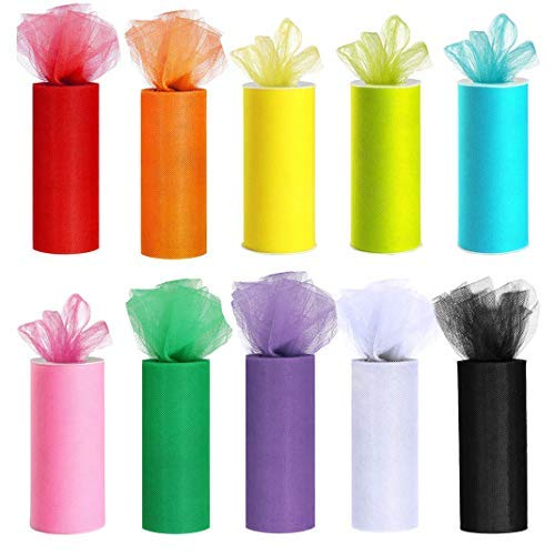 MXCELL 10 Colors Tulle Rolls Rainbow Tulle Colors Roll Fabric Spool 6 Inch by 25 Yard Spool for Wedding Tutu and Table Skirt Decoration -