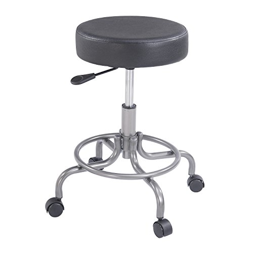 Nexel Comfort Stool With Back, Black Vinyl Seat