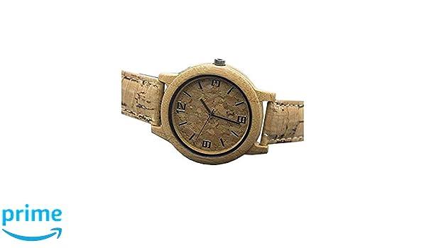 Reloj Hecho a Mano de Corcho Natural con bambú, Reloj de Pulsera de Cuarzo Vegano Unisex para Hombres y Mujeres | Reloj de Madera, Material Respetuoso con ...
