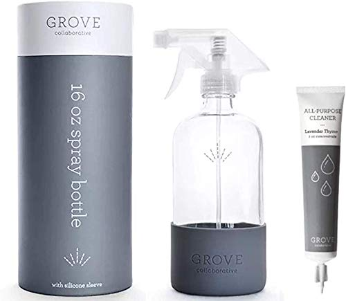 Grove Collaborative All- Purpose Cleaning Concentrate & 16 Oz. Glass Spray Bottle with Protective Non-Slip Silicone Sleeve and Sturdy Case - Dishwasher Safe, BPA Free