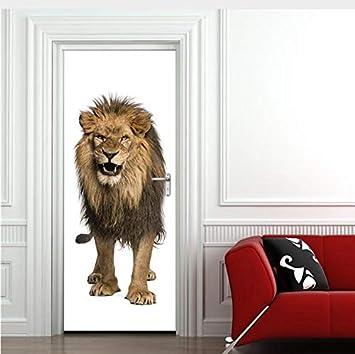 asfrata265 Lion 3D Pegatinas Creativos para Puertas Animales Moderno Puerta Mural PVC Renovación DIY Fondos De Pantalla Autoadhesivos Calcomanías para Puertas De Madera 77X200Cm