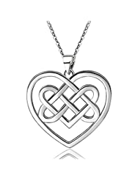 """EUDORA Sterling Silver Good Luck Celtic Knot Irish Vintage 925 Women Necklace Pendant, 18"""",Gift for Her"""