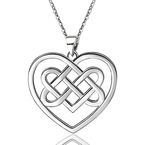 EUDORA Sterling Silver Celtic Heart Knot Necklace, Good Luck Endless Love Pendant, 18 inch, Special Gift