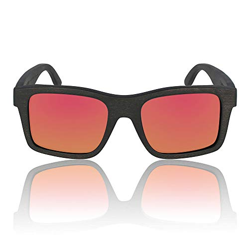 The Islander Maple Wood Polarized Rectangular Sunglasses by Wildwood for Men (Red - Fsc Wood