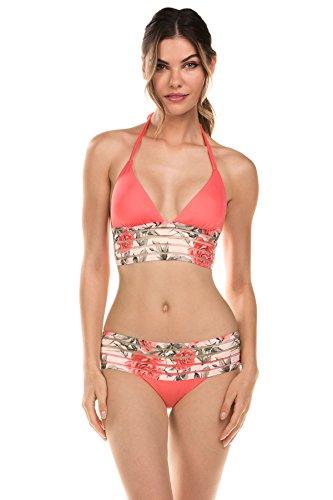 Isabella Rose Women's Rose Banded Halter Bikini Top Melon L (Water Melon Bikini)