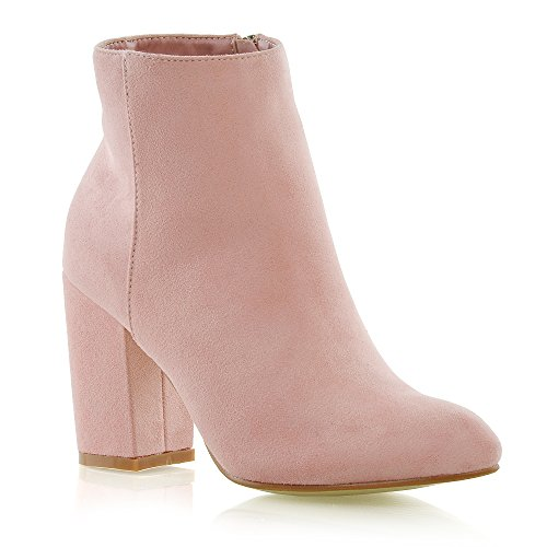 ESSEX GLAM Womens Casual Block Mid High Heel Smart Ankle Boots (10 B(M) US, Pastel Pink Faux Suede)