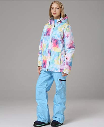 Women's Snowsuit Ski Jacket and Pants Set Waterproof Windproof Snowboard Hooded Snow Jackets