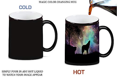(Wolf Silhouette in the Stars Magic Color Morphing Ceramic Coffee Mug Tea Cup by Moonlight Printing)