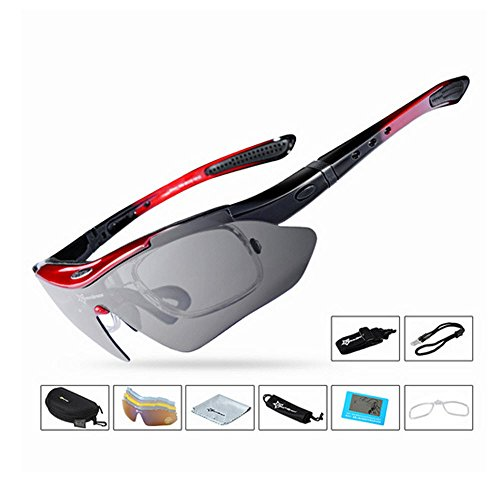 Fender Tip Light (Polarized Cycling Glasses 5 Lens Clear Bike Sunglasses Eyewear UV400 Proof (Red))