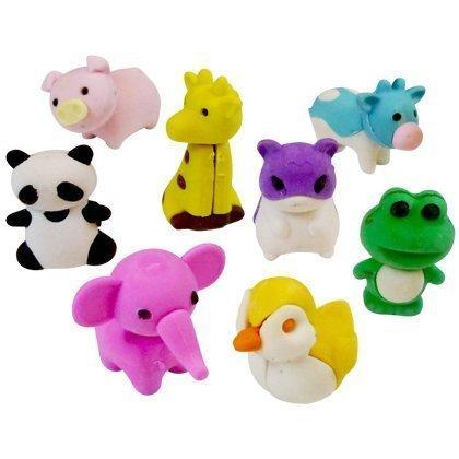 12 x Radiergummi Tiere Tierformen Schule Kids 2,5-3 cm