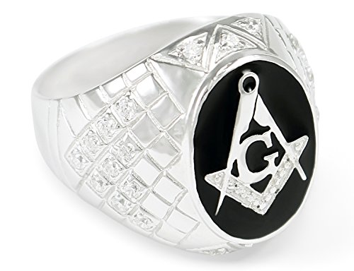 - The Collegiate Standard Sterling Silver Masonic Ring with Black Enamel and CZs