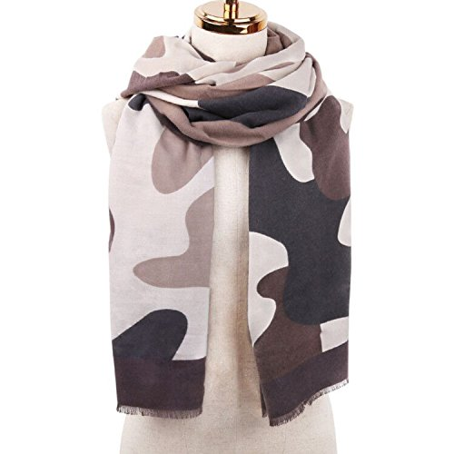 SOJOS Premium Soft Long Wool Viscose Scarves Shawl Wrap Scarf SC306 With Camouflage Rock-Brown Fancy Wool Scarves
