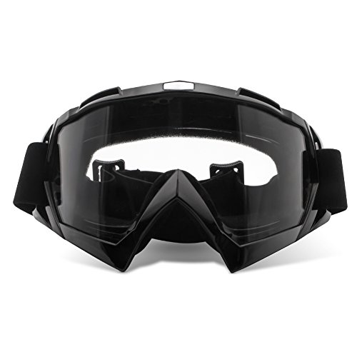 Wrap Goggles (4-FQ PU Resin Windproof Dustproof CRG Sports Scratch Resistant Motocross Dirt Bike Wrap Goggles Ski Goggles Protective Safety Glasses(Clear lens Black frame))