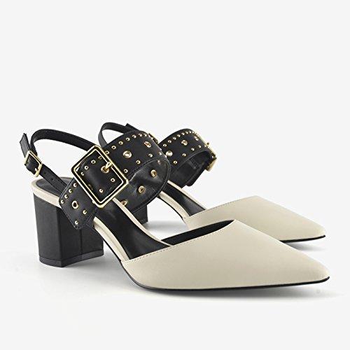 Jqdyl High Heels Fruuml;hling neue spitzen flachen Mund Schuhe Nieten mit Frauen Schuhe Wort mit High Heels dicken Absatz Sandalen  36|white