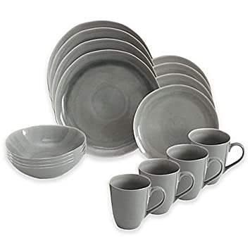 Amazon.com | Baum Current 16-Piece Dinnerware Set in Grey ...