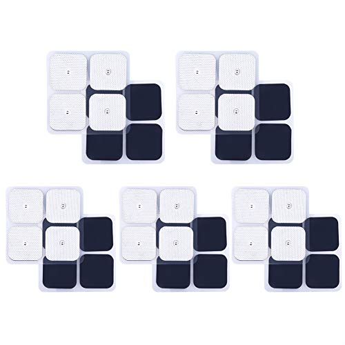 Electrode Pads, Reusable Square TENS Unit Replacement Pads with Premium Adhesive Gel for EMS & Muscle Stimulators (2 x 2 Inches) ()