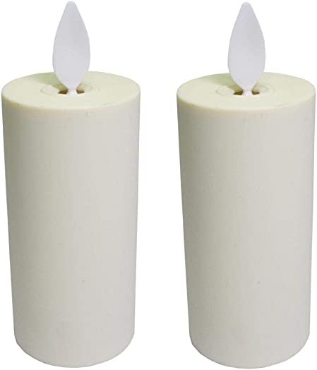 Set of 2 Luminara Votive Flameless Candles 1.75 x3 Ivory Unscented Moving Flame Candles with Timer