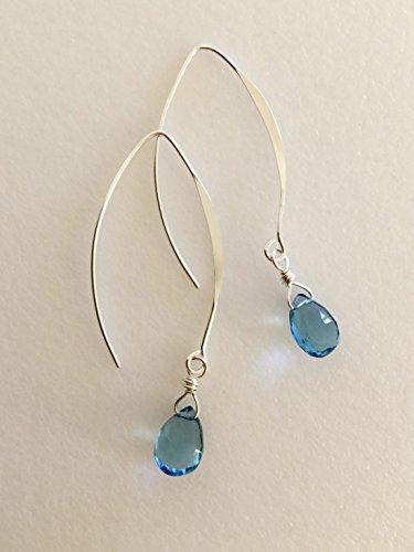 London Blue Earrings, Blue Quartz Gemstones, December Birthstones, Bridal Jewelry, Pear Briolettes, Bali Ear Wires, Sterling Silver.