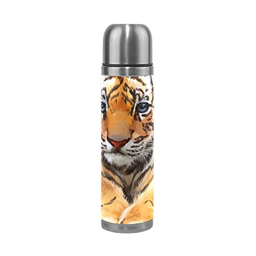 U LIFE Oil Painting Vintage Animal Tiger Cute Insulated Vacuum Flask Cup Thermos Bottle for Hot Water Stainless Steel 500ml by ALAZA
