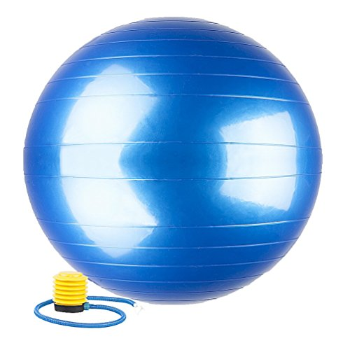Evaline Stability Anti Burst Slip Resistant Exercise Balance Fitness Swiss PVC Yoga Ball With Foot Pump Blue