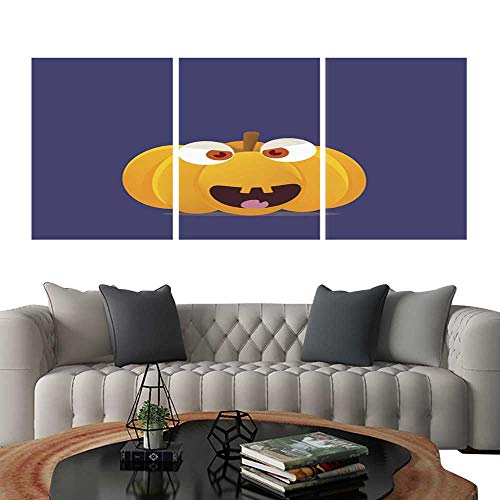 Prints Wall Art PaintingsHalloween Pumpkin cartoon vector illustration with a space or place for copy or text Isolated funny pumpkin face or head with eyes and teeth is great for halloween party or -